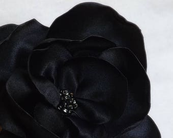 Flower Brooch in Black Satin