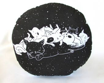 Cat Nap in Space Pillow. Round Accent Pillow. Hand Pulled Screenprint. 12x12 inches. Ready to ship.