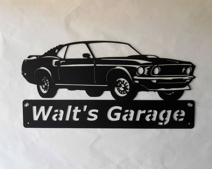 1969 Ford Mustang Fastback- Personalized - Man Cave - Mach 1 - Garage Sign -Satin Black- Car Art