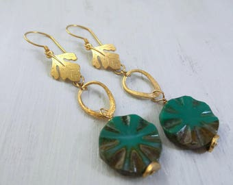 Tropical Earrings, Summer Earrings, Summer Outdoors, Summer Party, Gold Leaf Earring, Sunburst Earrings, Tropical Jewelry, Summer Jewelry