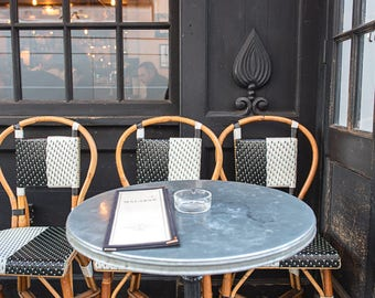 Parisian Cafe Chairs in Black, White and Tan - Paris, France Travel Fine Art Photography Print