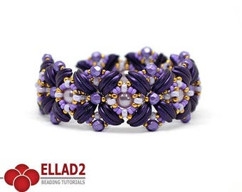 Tutorial Daya Bracelet - Beading tutorial with Crescent beads, Beading pattern, Jewelry tutorial, design by Ellad2