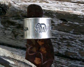 Elephant Sterling Silver Rustic Boho Artisan Silversmith Woodland Animal Nature Ring