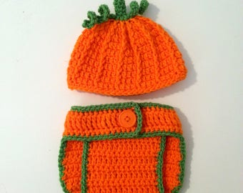 Crochet Pumpkin Newborn Outfit, Newborn Photo Prop, Fall Baby Outfit, Orange Crochet Hat, Adjustable Diaper Cover, New Baby Gift