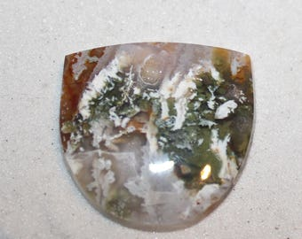 Linda Marie Plume agate cabochon -  pendant size cabochon for jewelry making - hand crafted lapidary stone
