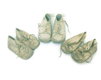Antique Baby Shoes  /  Three Pairs of Vintage Baby Shoes  /  Lace Up Baby Shoes for a Collector or Baby's Room  /  Photo or Movie Prop