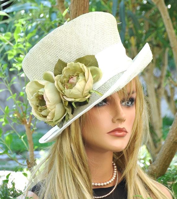 Wedding Hat, Church Hat, Derby hat, Formal Hat, Ladies Straw Hat, Mother of Bride Hat, Tea Party Hat