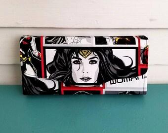 WOMEN'S WALLET, Wonder Woman Wallet, DC Comics Wallet, Necessary Clutch Wallet, Birthday Gift, For Woman