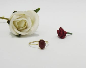 Boho ring, Minimalist ring, Solitaire Ring, Carnelian Ring, Thin Ring, 6x8mm Cabochon 9K Yellow, Rose or White gold, August Birthstone