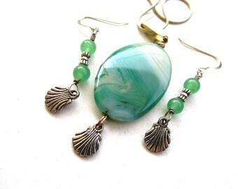 Beach theme, jewelry set, sea foam green, pendant necklace, drop dangle earrings, agate stones