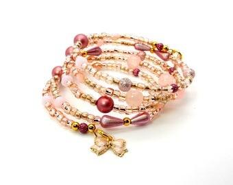 Pink Champagne Dreams Bracelet – Pink Blush Beaded Memory Wire Bracelet – Pink Bracelet