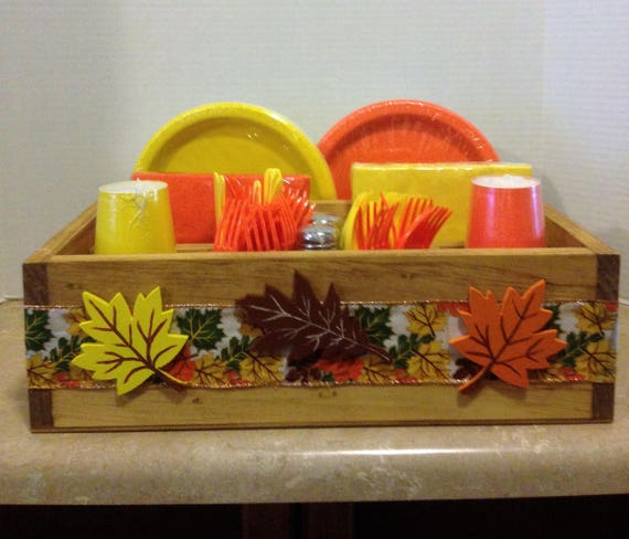 Tableware Caddy, Picnic Caddy, Fall Decor, Thanksgiving Decor, Country Decor, Utensil Holder, Autumn Decor, Fall Leaves, Autumn Picnic