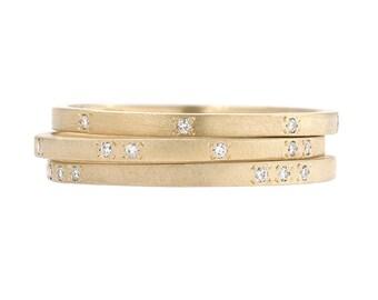 Diamond Wedding Band, Diamond Band, Diamond Ring, Diamond Stacking Band, Anniversary Band, Modern Wedding Band, Gold Diamond Stackers, Nixin