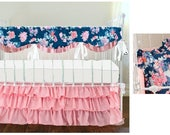 Custom Navy Floral Blush Pink Set