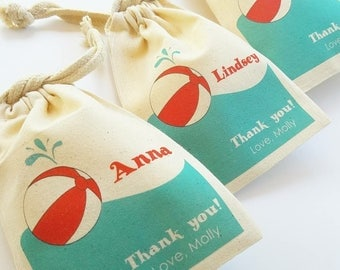 POOL Party - Personalized Favor Bags - Set of 10 - Birthday - Summer party - Beach Balls