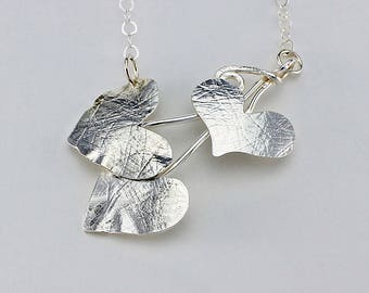 Handcrafted Sterling Silver Heart Leaf Vine Necklace One of a Kind Minimalist Contemporary Artisan Jewelry Design 0574615283116