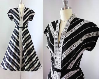 Vintage 1950's Black & White Lace Striped Dress