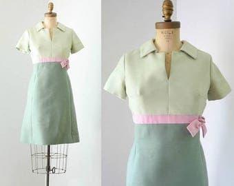 40% OFF SALE - Vintage 1960's Green Color Block MOD Dress