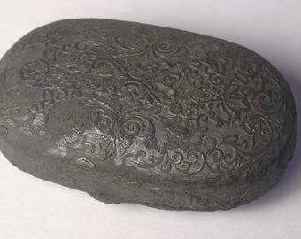 A Cast White Metal Snuff Box Showing Dog and Master A1