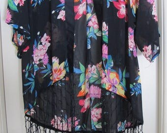 Floral and Black lightweight jacket
