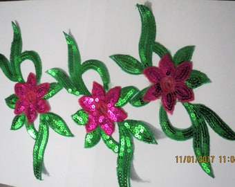 Green and Pink sequined appliques  Iron on sequined appliques, price is for all 3