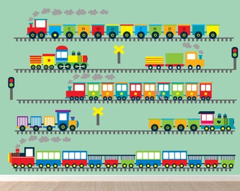 Train Wall Decal, 30 FEET of Tracks, Reusable Decal Non-toxic Fabric Wall Decals for Kids, WD30