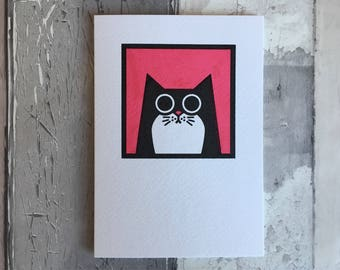 Cat Card, tuxedo cat greetings card, hand-printed cat card, black and white cat, birthday card, thank you card, pink card, frameable card