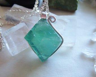 Teal Blue Green Color Change Fluorite Octahedron Crystal Pendant