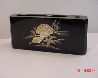 Vintage Otagiri Lacquerware Seashell - Coral - Starfish Desk Top Note Pad & Pen / Pencil Holder  17 - 980