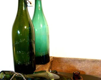 Vintage Green Beer Bottles from Belgium with original Porcelain Stopper, European Vintage Beer, Vintage Bar Collection. European Beer Bottle