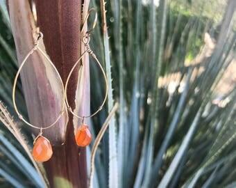 Carnelian & Gold Earrings