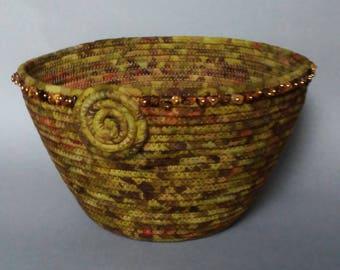 Moss Green Batik Basket, beaded basket, coiled basket