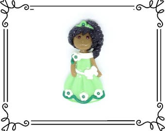 Cold Porcelain Clay Princess Tiana Figurine, Pendant, Bow Center, Ornament, Magnet, Brooch, Purse Charm /DIY Frog Princess Necklace, Jewelry