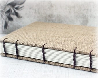 ON SALE Blank Art Journal 5x7 Journal Watercolor Journal Mixed Media Journal Sketch Journal Hand Bound Book Burlap Journal Coptic Stitched A