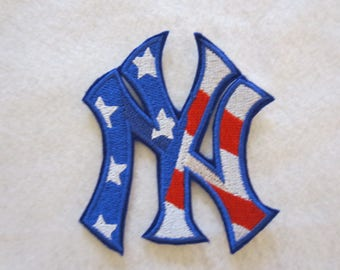 Embroidered NY Yankees Patriotic Iron On Patch, NY Yankees, Iron On Patch, Iron On Applique, Embroidered Patch, Embroiderd Applique