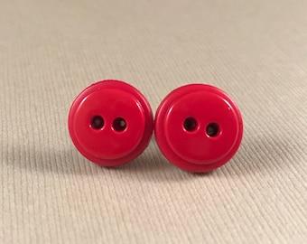 Earrings, red stud earrings, button earrings