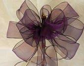 Custom order for Cara Wedding/ Pew Bows set of 6 Eggplant/ aubergine/ Deep Purple