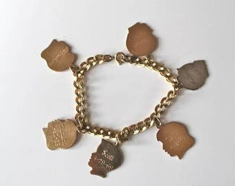 20% off SALE vintage gold charm bracelet - BOYS & GIRLS silhouette gold filled charm dangle bracelet