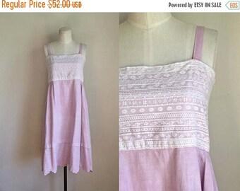 AWAY SALE 20% off edwardian 1910s slip dress - LILAC Night pink linen dress / reworked dress / Xs
