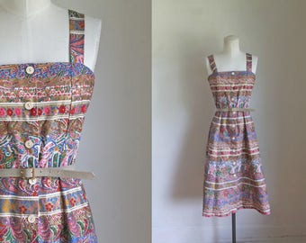 vintage 1970s dress - GOLD LEAF floral sundess / XS-S