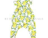 Baby Girl Lemon Romper with Pockets