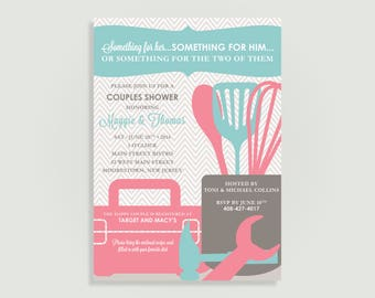 Tool & Kitchen Couples Shower Invitation with Recipe Cards - Personalized Printable File or Print Package Available -  #00007-PIA7RC