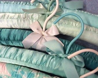SUMMER SALE Set of 5 Aqua blue green seafoam Plush Hangers - Lingerie Hangers