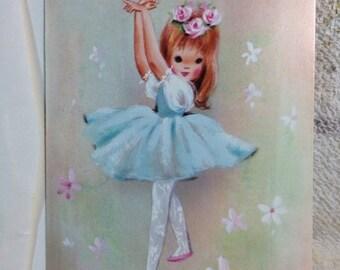 SUMMER SALE Vintage 1960s 1970s Girls Birthday Card Dancer Ballerina Adorable Paper Ephemera