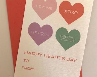 Conversation hearts , Personalized valentines, Class Valentines, kids stationery, personalized stationery, kid valentines, fill in valentine