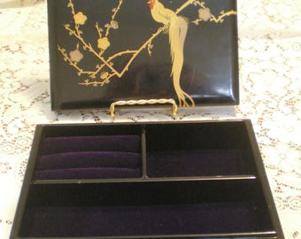 Vintage Japanese Black Lacquerware Jewelry Box**With Gold Trim**Signed**