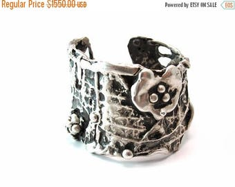 Silver Sale 20% OFF Ophelia Open Vine Sterling Silver 925 Artistic Cuff, Limited Edition Series