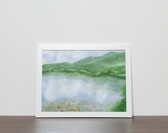Mountain Lake Print from Original Watercolor