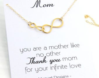 Mother Necklace, Mother and son, Mother and daughter necklace, Two Infinity Link Necklace, Mother's Birthday Gift, Gold or Silver