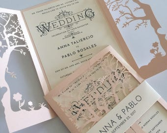 Fall Wedding Invitation Laser Cut Tree Wedding Invitation